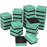 TecUnite 30 Pack Magnetic Whiteboard Dry Eraser Chalkboard Cleansers Wiper for Classroom Office (Green, 1.97 x 1.97 Inch)