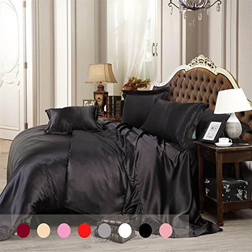 Silky Duvet Cover Set with Flat Sheet Queen Size 4 Piece Sil