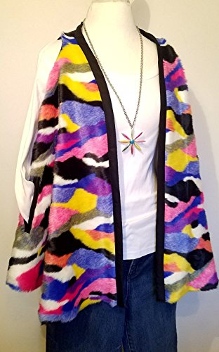 Multi Colored Rainbow Mod Faux Fur Vest HANDMADE IN TEXAS, USA by E by Evelyn Designs