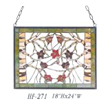 HF-271 Tiffany Style Stained Glass Flowers&Branches Rectangle Window Hanging Glass Panel Sun Catcher, 18''Hx24''W