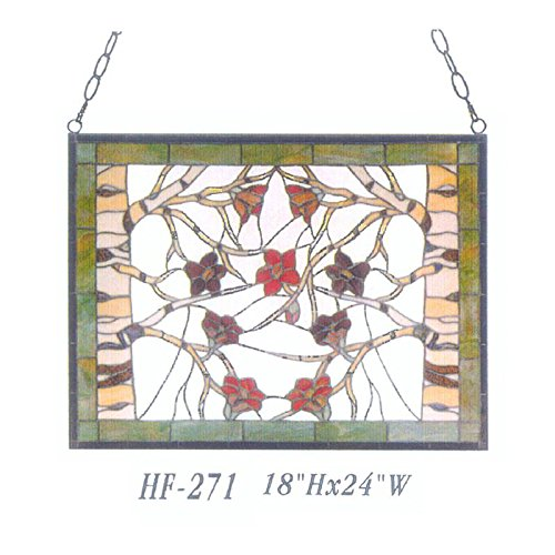 HF-271 Tiffany Style Stained Glass Flowers&Branches Rectangle Window Hanging Glass Panel Sun Catcher, 18''Hx24''W by Gweat Window Hanging