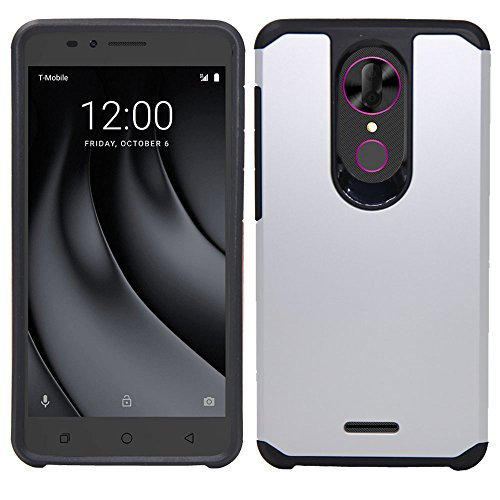 T-Mobile REVVL Plus Case With Tempered Glass Screen Protector, Telegaming  Dual Layer Hybrid Armor Case Shockproof Impact Resistant Slim Fit Rubber