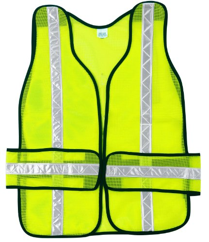 Safety Tear Vest Away (MCR Safety CHEV2L Chevron Polyester Mesh Tear-Away Safety Vest with 1-3/8-Inch White Stripe, Lime)