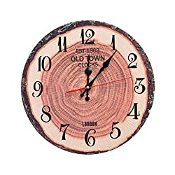 Jingzou 14 inch, American, country, quiet, wood, clock sun, movement retro, wall clock34CM