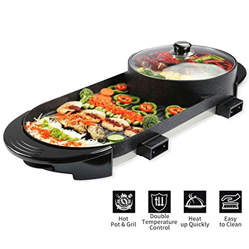 Electric Grill 2 in 1 Electric Barbecue Pan Grill Indoor and Ourdoor Shabu Hot Pot with Barbecue Large Capacity Non-Stick Pan with 5 Temperature adjustments for Family Gatherings