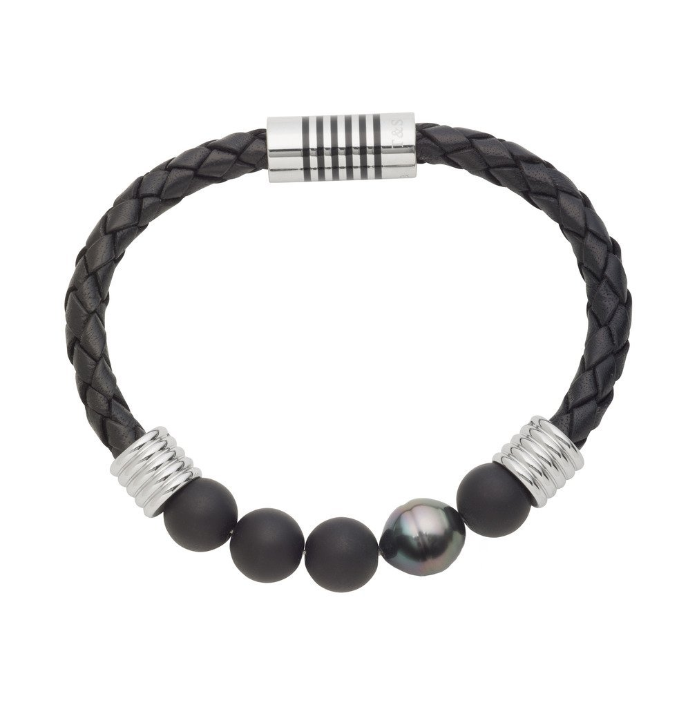 TARA Legacy Natural Color 10x11mm Tahitian Cultured Pearl and Agate Stainless Steel Braided Bracelet (8.25)