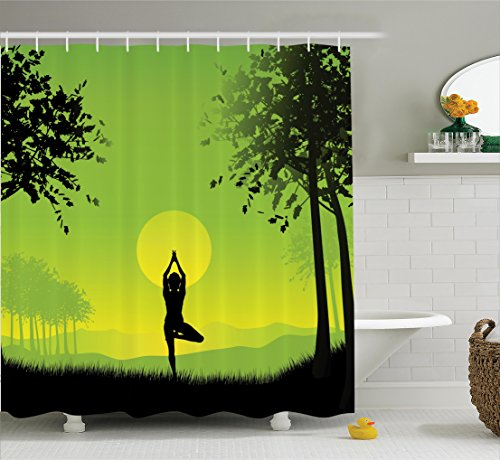 Yoga Decor Shower Curtain Set By Ambesonne, Meditating Lady Under Sunset Sky In The Forest Serenity Balance Soul Nature Artwork, Bathroom Accessories, 69W X 70L Inches, Green and Black (Decorations Big Christmas W)