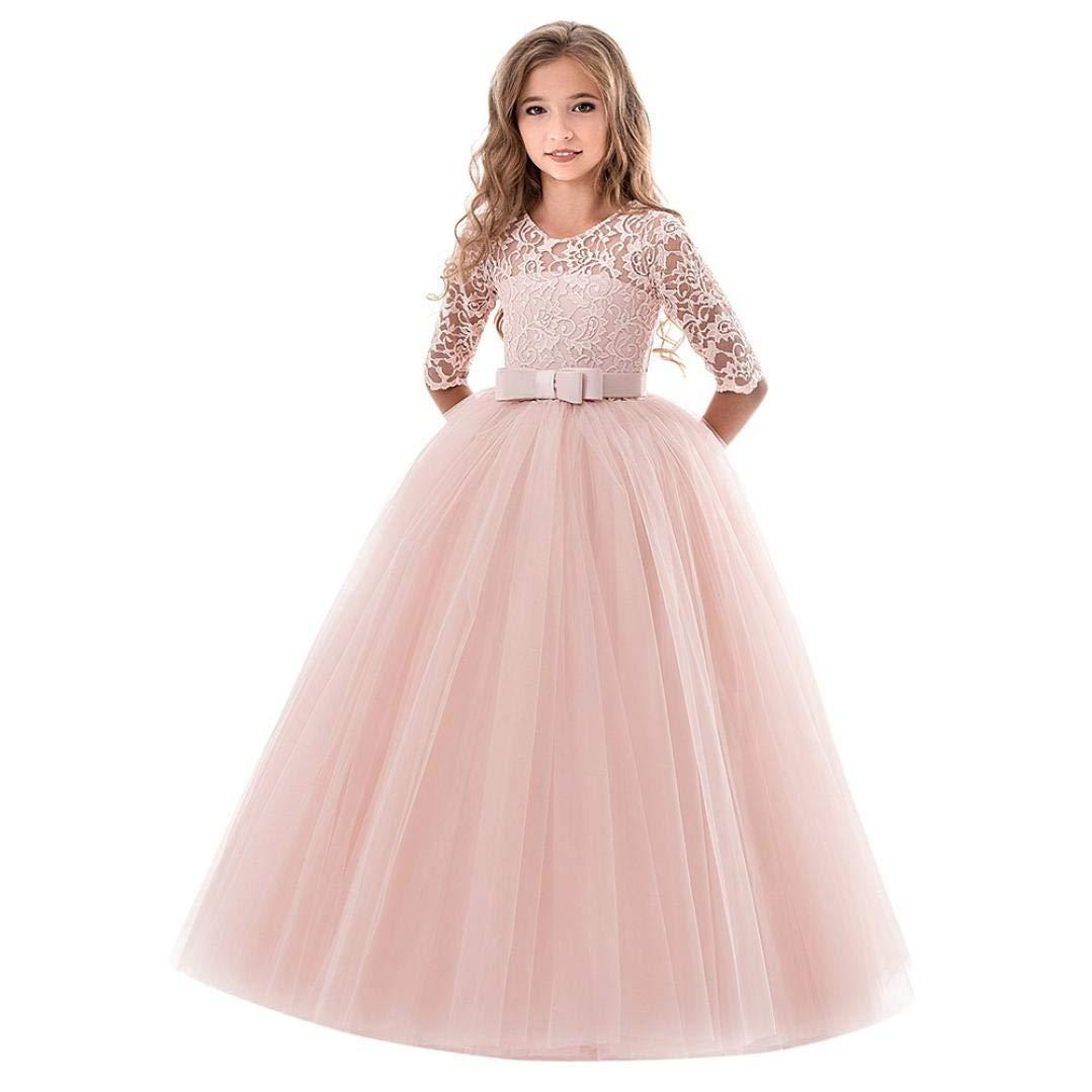 YJYdada Child Dress Child Girls Lace Bowknot Princess Wedding Performance Formal Tutu Dress Clothes (130)