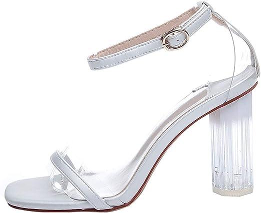 Transparent Chunky Heel Sandals
