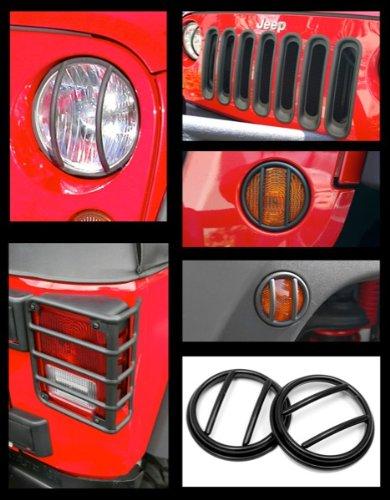 Rugged Ridge Jeep Wrangler Jk Black Euro Guard, Headlight Bezel & Grille Insert Kit (2007-2011)