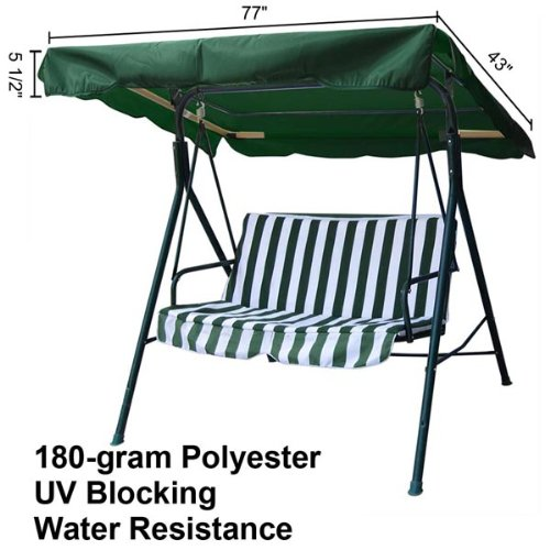 Durable Green Polyester Home Outdoor Patio Swing Canopy Replacement 6 1/3Ft 77