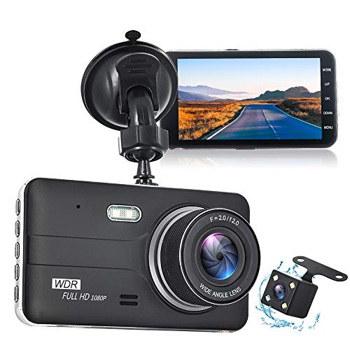 Dash Cam, 1080P FHD DVR Car Driving Recorder, 4 Inches IPS Screen 170° Wide Angle, G-Sensor, WDR, Parking Monitor, Loop Recording, Motion Detection, Night Vision