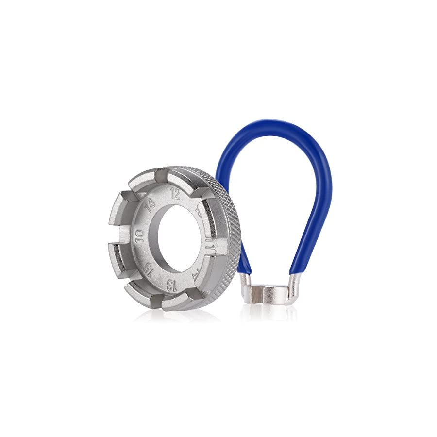 Bicycle Spoke Wrench 6 in 1 Bike Wheel Spokes Rim Tool with Blue Pocket Gauge