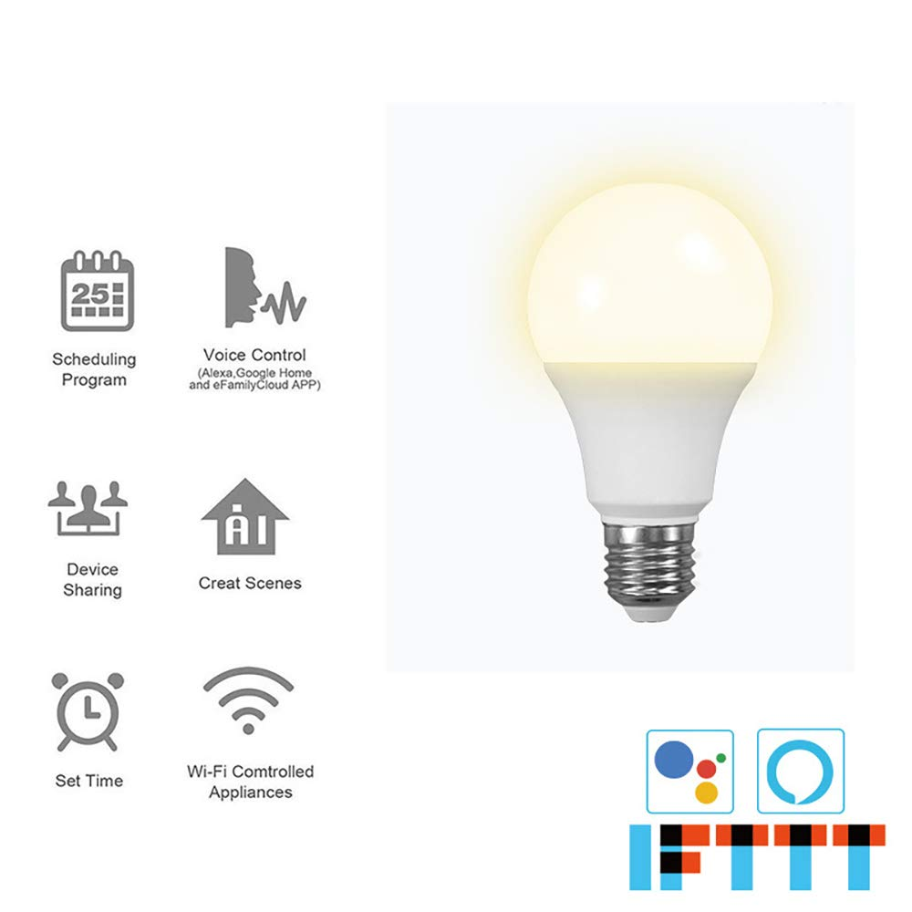 COOLOUS LED Smart Light Bulb WiFi Lamp Bulb Dimmable APP Control 4000K 10W Timing Function E26 No Hub Required