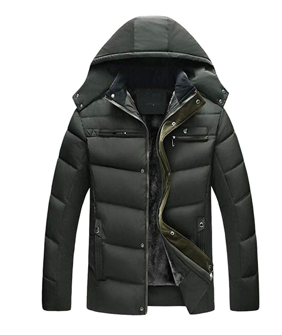 Cromoncent Mens Casual Hooded Fleece Lined Cotton Padded Thicken Parkas Jacket