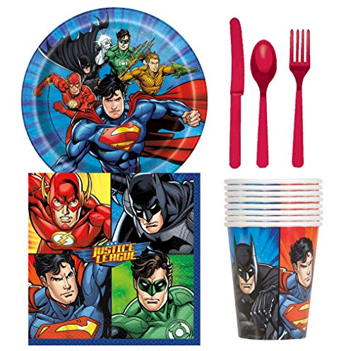 (Unique Industries Justice League Birthday Party Supplies Snack Pack for 8 Guests Including Dessert Plates, Beverage Napkins, Cups and Cutlery)