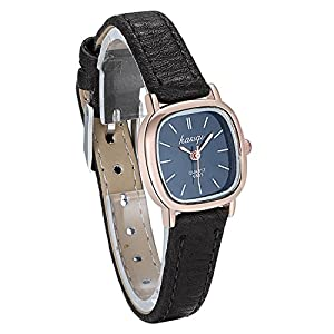JewelryWe Women Small Square Dial Leather Strap Classic Ladies Dress Unusual Quartz Watches