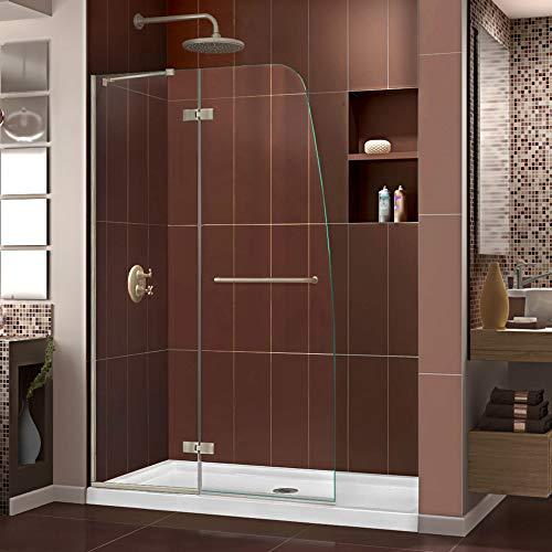 DreamLine Aqua Ultra 36 in. D x 48 in. W Kit, with Hinged Shower Door in Brushed Nickel and Center Drain White Acrylic - Shower Base Glass Aqua