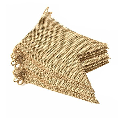 LEOBRO 48 Pcs Burlap Banner, 32 Ft Swallowtail Flag, DIY Decoration for Holidays, Wedding, Camping, Party and Any Occasion Shipping by FBA by LEOBRO