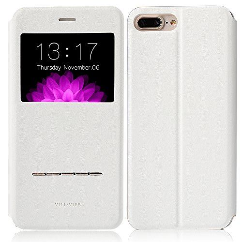 iPhone 7 plus case,Feitenn Folio Flip Leather PU Wallet Case View Window [Touch Series] [Metal Sensor] Stand Kickstand Holder Magnetic Closure Clear TPU Slim Leather Case for iphone 7 plus (White)
