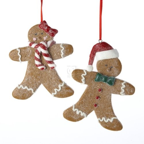 Set Of 2 Gingerbread Boy and Girl Ornaments (Gingerbread Girl Ornament)