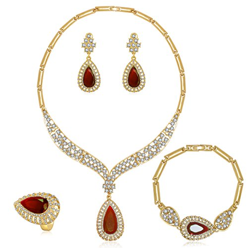 Moochi Women's AA Cubic Zirconia Gold Plated Alloy Necklace Jewelry Set Fashion Prom Bridal (Color9) - Bridal Gold Plated