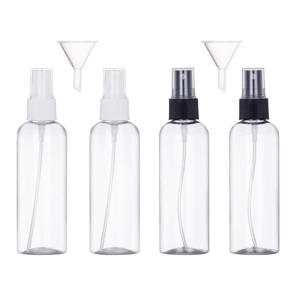 4PCS,100ml Spray Bottle Empty Plastic Transparent Fine Mist Travel Atomiser Spray Bottles Set Travel Size Bottle Toiletries Liquid Containers for Cosmetic Make-up Ealicere