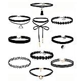 Jewelry for Women Earrings,10Pieces Choker Necklace Set Stretch Velvet Classic Gothic Tattoo Lace Choker,Girls' Bracelets,Black,Women Jewelry