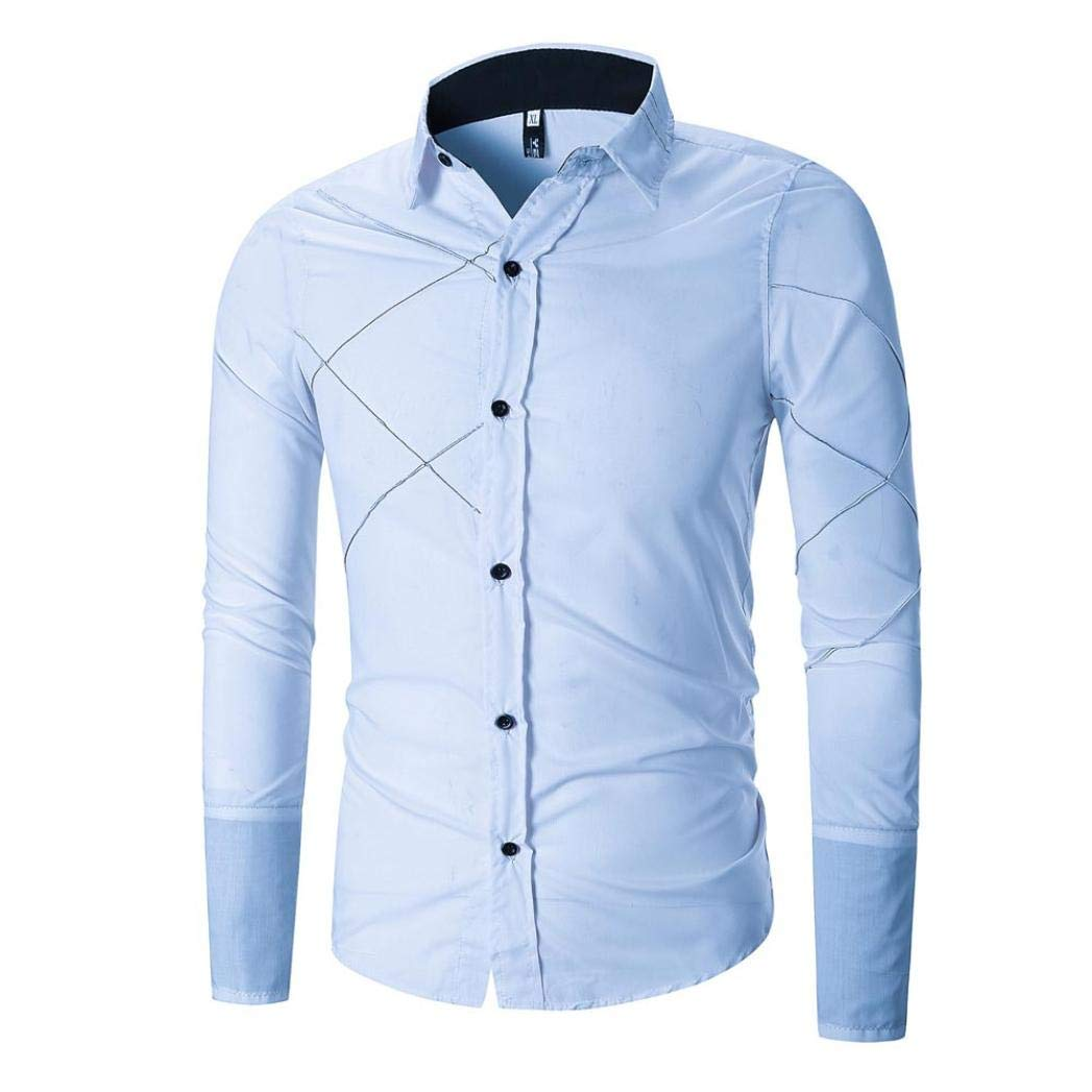 kaifongfu Shirt for Men for Autumn Men Splicing Long Sleeve Slim Shirt Top with Patchwork (Blue,M)