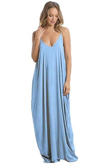 8b6fc457c83 ELAN Spaghetti Strap Balloon Bottom Maxi (3 Colors) at Amazon Women s  Clothing store