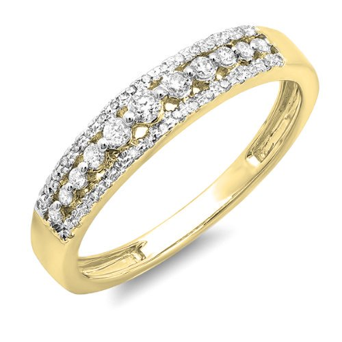 Dazzlingrock Collection 0.25 Carat (ctw) 14K Round Diamond Ladies Anniversary Wedding Band Ring 1/4 CT, Yellow Gold, Size 7 ()