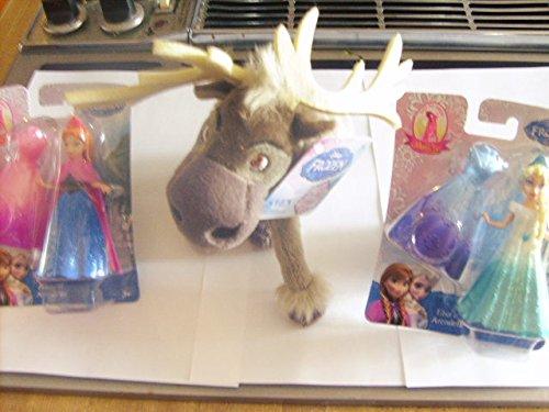 Disney Frozen 3 Toy Set, Sven Plush Toy with Anna & Elsa MagiClip Dolls