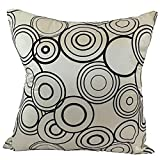 "That's Perfect! Circular Harmony Decorative Silk Throw Pillow Sham - Fits 18"" x 18"" Insert (White)"