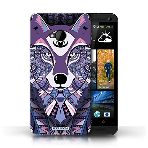 Coque de Stuff4 / Coque pour HTC One/1 M7 / Loup-Pourpre Design / Motif Animaux Aztec Collection
