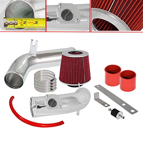 For 2003-2008 Mazda 6i (2.3L L4 Engine Only) 2.75 Inch Aluminum High Flow Cold Air Intake System Polish Pipe with Air Filter Red