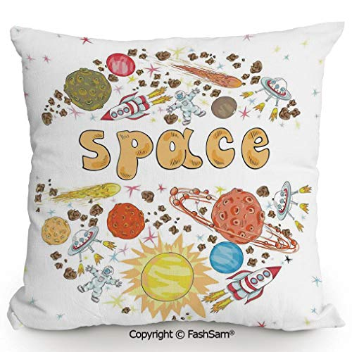 FashSam Home Super Soft Throw Pillow Outer Space Comet Meteor Galaxy Astronaut Print UFO Sun Planets Spaceship Poster Style Art Print for Sofa Couch or Bed(18