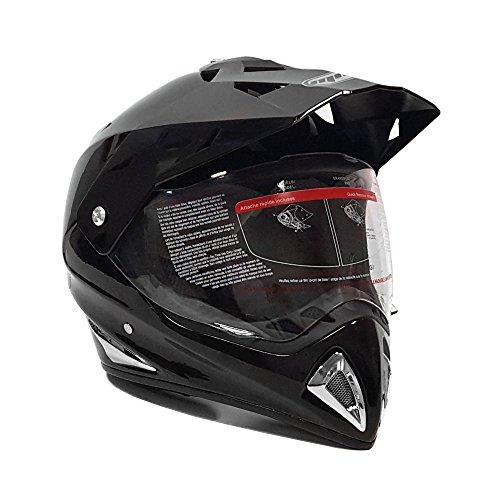 MMG Helmet Dual Sport Off Road Motorcycle Dirt Bike ATV - FlipUp Visor - 27V Shiny Black (Small)