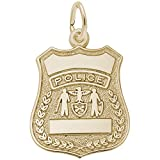 Rembrandt Charms, Police Badge, 22k Yellow Gold Plated Silver, Engravable
