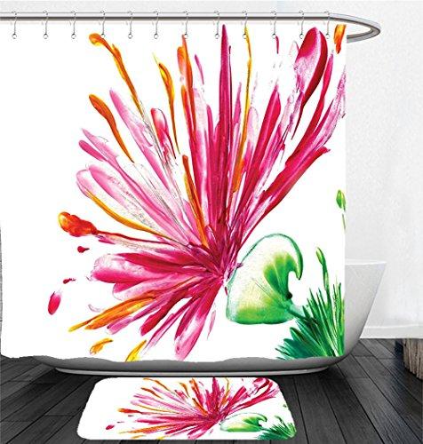 Asiatic Tiger Lily (Nalahome Bath Suit: Showercurtain Bathrug Bathtowel Handtowel Watercolor Flower House Decor Opened Out Asiatic Oriental Lily Freesia Florets Home Art Fuchsia Green)