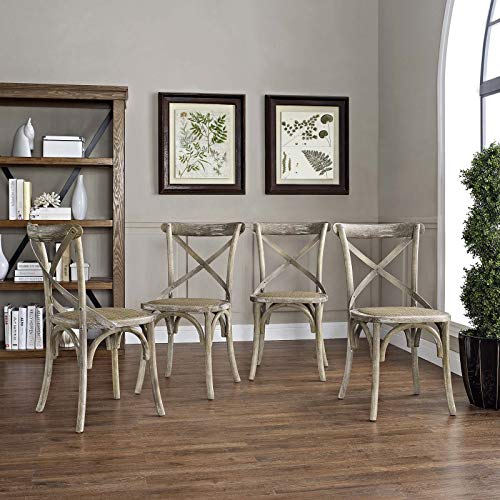 Modway Gear Rustic Modern Farmhouse Elm Wood Rattan Four Kitchen and Dining Room Chairs in Gray – Fully Assembled