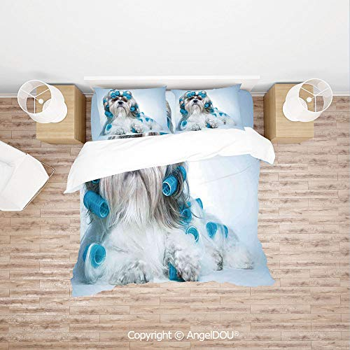 PUTIEN Modern Cotton Bedding 4 Pieces Set Duvet Cover Set,Shih tzu Dog with Surlers Grooming Hairstyle Salon Front View Closeup Studio Shot,with Hidden Zipper Closure. -