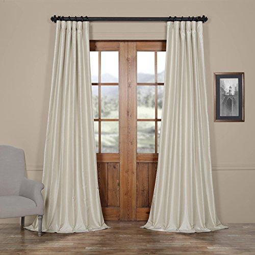 HPD HALF PRICE DRAPES Half Price Drapes PDCH-KBS21-96 Vintage Textured Faux Dupioni Silk Curtain, 50 x 96, Mist Grey Silk Dupioni Window Panel
