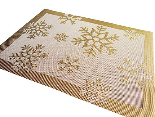Rimobul Winter Snowflake Woven Vinyl Placemat, Set of 6 (Snow-Gold) (Placemats Christmas Gold)