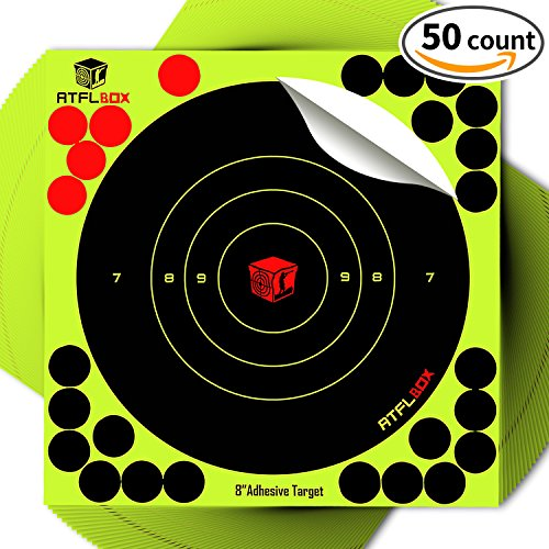 AtflBox Shooting Target 8inch Bulleye Super Splatter and Adh