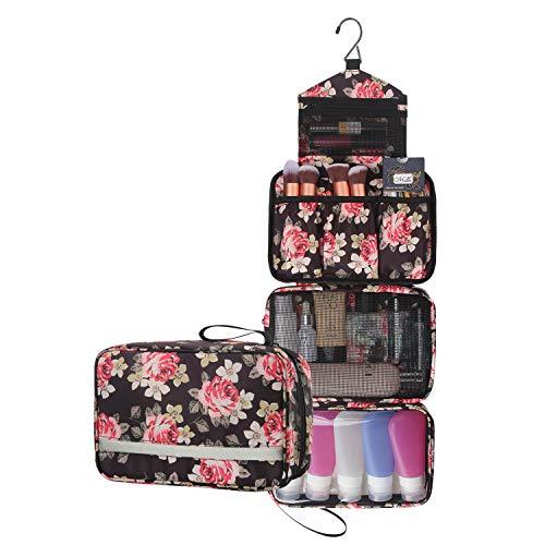 (Travel Toiletry Bag Business Toiletries Bag for Men Shaving Kit Waterproof Compact Hanging Travel Cosmetic Pouch Case for Women Black (Peony Pattern))