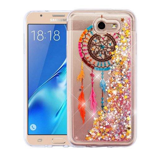 (Wydan Case for Samsung Galaxy J7 Sky Pro, Crown, Perx, J7 V, J7 Prime, Halo, J7 2017 - Slim Hybrid Liquid Bling Glitter Sparkle Quicksand Waterfall Shockproof TPU Phone Cover - Dreamcatcher)
