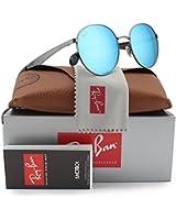 Ray-Ban RB3537 Sunglasses Gunmetal w/Blue Mirror (004/55) 3537 00455 51mm Authentic