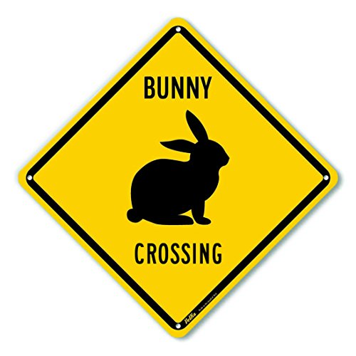 Aluminum Crossing Sign (PetKa Signs and Graphics PKAC-0175-NA_Bunny Crossing Aluminum Sign, black Text with Yellow Background 10