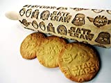 STAR WARS ROLLING PIN WOODEN EMBOSSING ROLLING PIN with STAR WARS PATTERN for homemade cookies