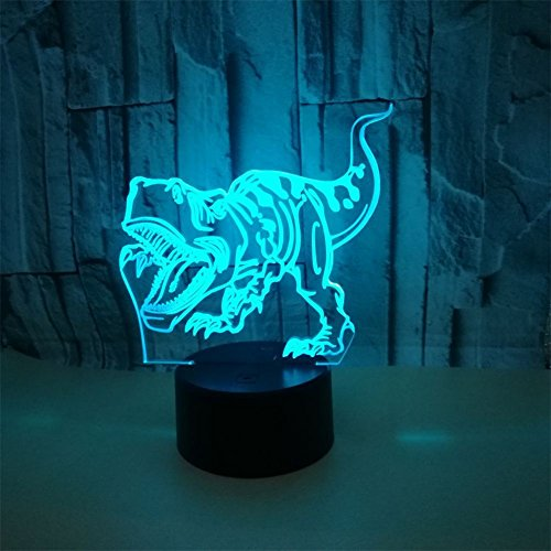 RUIYI 3D Optical Illusion Night Lamp Tyrannosaurus Visual Lmaps,Dinosaur 7 Color Change Lamp Base Birthday Gift Child Kid Home Decoration by RUIYI (Image #4)